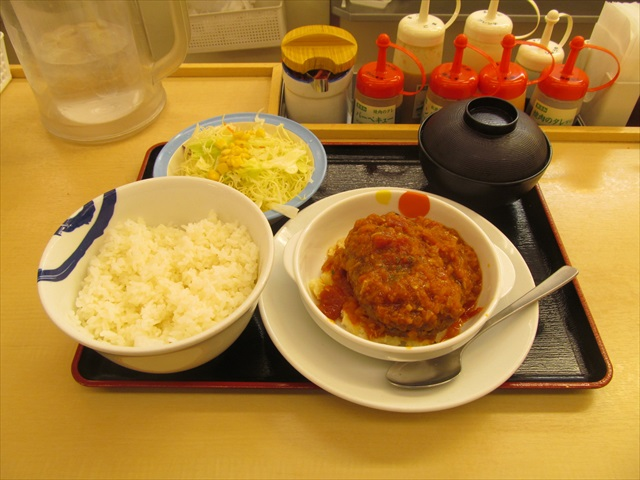 matsuya_tomato_fondue_sauce_beef_hamburger_steak_set_meal_20190423_034