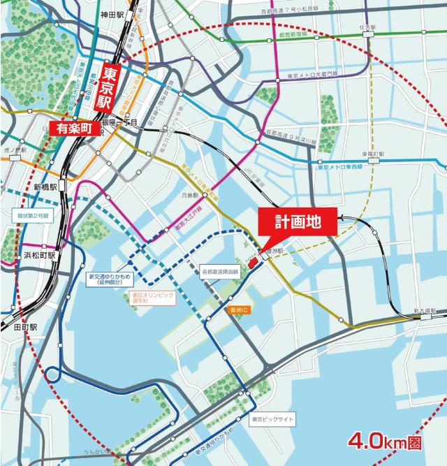 豊洲ベイサイドクロス広域地図20190522