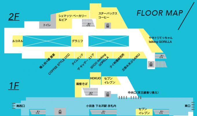 シモキタエキウエ下北沢駅フロアマップ20191015