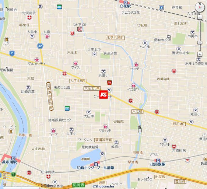 ケーズデンキ尼崎浜田店_地図_1205_20191116